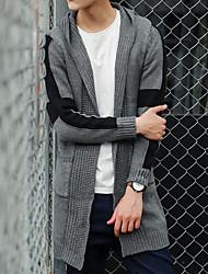 Men's Casual Long Cardigan,Solid Hooded Long Sleeve Cotton Winter Medium Micro-elastic