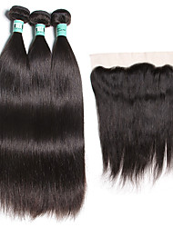 Trama do cabelo com Encerramento Cabelo Brasileiro Retas 18 Meses 4 Peças tece cabelo