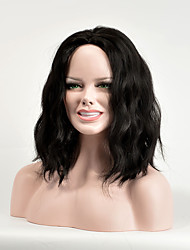 Fashion Black Color Synthetic Hair Women Middle Wave Wig High Temperature Wig
