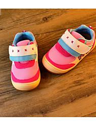 Girls' Flats First Walkers PU Spring Fall Casual Walking First Walkers Magic Tape Low Heel Light Blue Blushing Pink Flat