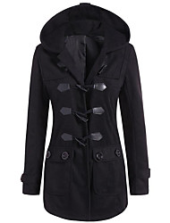 Men's Casual/Daily Casual Winter Trench Coat,Solid Hooded Long Sleeve Regular Polyester