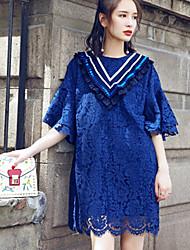 Damen Tunika Kleid-Lässig/Alltäglich Einfach Blumen Rundhalsausschnitt Übers Knie Halbe Ärmel Bambusfaser Sommer Hohe Hüfthöhe Dehnbar