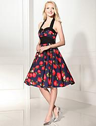 Women's Rockabilly Vintage Dress Black Neckline Floral Halter Knee-length Sleeveless Cotton All Seasons Mid Rise