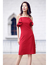AGD Women's Party Going out Sexy Simple Sheath DressSolid Deep U Above Knee Sleeveless Polyester Taffeta Spring Summer High Rise