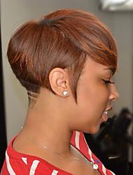 Стильный и изысканный наклонный бахрома короткие прямые волосы человеческие волосы парики