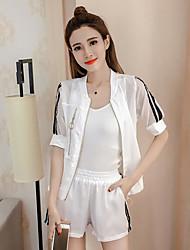 Feminino Camisa Calça Conjuntos Casual Casual Verão,Sólido Decote V