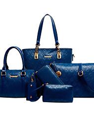 Mulher Conjuntos de saco Couro de Gado Todas as Estações Casual Concha zíper Preto Bege Azul Champanhe
