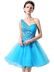 Cocktail Party Dress Princess One Shoulder Short/Mini Tulle with Sequins