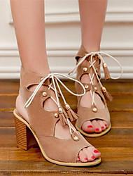 Damen Schuhe PU Frühling Komfort High Heels Blockabsatz Keilabsatz Für Normal Schwarz lichter Ocker