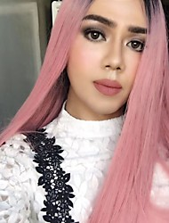 Somke Pink Fashion Long Straight Lace Front Wig Heat Resistant Beauty Sexy Cosplay Party Club Wig It Girl Daily Wearing Hair Rose Red Wig