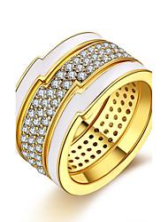 Women's Ring Cubic Zirconia Basic Unique Design Rhinestone Heart Geometric Circle Friendship Punk Adorable Personalized Hip-Hop