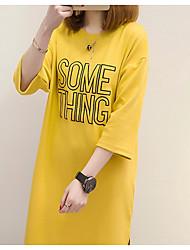Damen Solide Geometrisch Einfach Lässig/Alltäglich T-shirt,Rundhalsausschnitt Sommer Herbst 3/4 Ärmel Andere Mittel