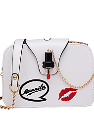 Women Bags All Seasons PU Shoulder Bag with Metal Chain for Wedding Event/Party Casual Sports Formal Office & Career Outdoor White Black