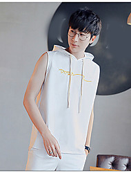 Men's Daily Hoodie Solid Hooded Micro-elastic Cotton Sleeveless Summer
