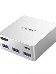Orico ads4 hub type-c док-станция usb-c to hdmi / audio / converter usb 3.0 супер скорость 2 порта 5.0 gbps с кабелем 0,5 м
