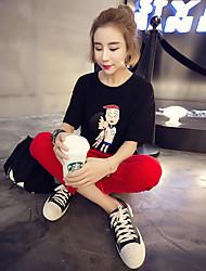 Damen Muster Einfach Normal T-shirt,Rundhalsausschnitt Sommer Halbe Ärmel Baumwolle Mittel