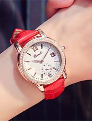 Mulheres Relógio de Moda Relógio de Pulso Quartzo Calendário Couro Banda Vermelho Marrom Rosa Roxa