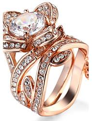 Ring Settings Ring  Luxury Elegant Noble Zircon Flower Women's  Rhinestone Euramerican Fashion Party Movie Gift Jewelry
