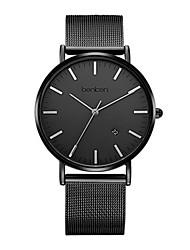 Homens Relógio de Moda Quartzo Aço Inoxidável Banda Preta