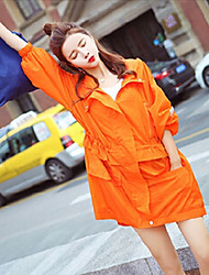 Women's Daily Casual Summer Trench Coat,Solid Hooded Short Sleeve Long Polyester