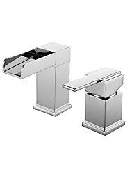 Modern Style Waterfall with Single Handle Two Holes Chrome Finish Hot And Cold Water Tap  Bathroom Basin Sink Faucet
