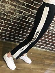 Feminino Simples Cintura Baixa Inelástico Perna larga Calças,Perna larga Estampado