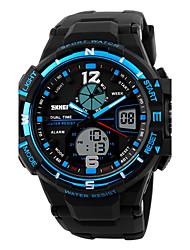 Men's Sport Watch Digital Watch Digital Calendar Water Resistant / Water Proof Dual Time Zones Alarm PU Band Cool Black