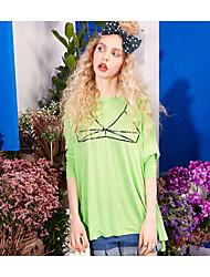 Damen Muster Einfach Alltag Normal T-shirt,Rundhalsausschnitt Langarm Viskose