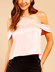 Women's Street Street chic Summer T-shirt,Solid Strap Short Sleeve Polyester Medium