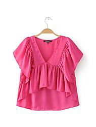 Damen Solide Einfach Alltag Normal T-shirt,V-Ausschnitt Kurzarm Polyester