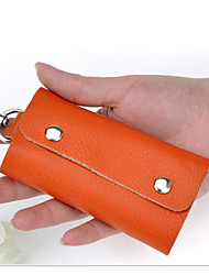 Unisex Key Holder Cowhide All Seasons Casual Outdoor Rectangle Button Red Orange Blue