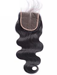 1 шт. 4x4 бразильские тела волна кружева ткать закрытия волосы сырые девственные remy волосы отбеленные узлы верхние закрытия