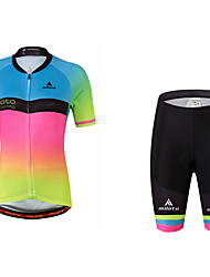 Cycling Jersey with Shorts Ladies' Female Short Sleeve Bike Jersey Cycling Reflective Strip Sweat-wicking Wicking Elastic Fluorescent