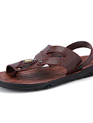 Men's Sandals Comfort Synthetic Microfiber PU Summer Fall Casual Comfort Button Split Joint Flat Heel Dark Brown Brown Flat