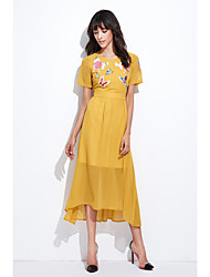 Gaine Robe Femme Sortie Décontracté / Quotidien Vintage simple Chinoiserie,Fleur Broderie Col Arrondi Asymétrique Manches Courtes Autres