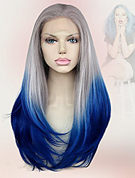 18Inch Sexy Silk Straight Synthetic Lace Front Wigs Omber Grey Blue Wigs Heat Resistant New Arrival