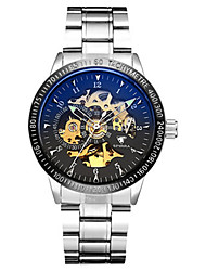 Men's Skeleton Watch Mechanical Watch Japanese Automatic self-winding Noctilucent Alloy Band Silver