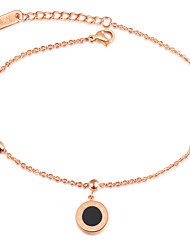 New Japan and South Korea fashion temperament of small Roman numerals rose gold round cakes female Mosaic gold anklets titanium steel