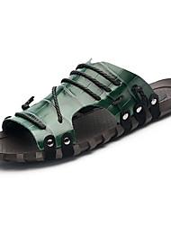 Men's Slippers & Flip-Flops Comfort Light Soles Summer PU Casual Lace-up Flat Heel White Green Blue Burgundy Flat