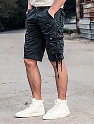 Masculino Simples Cintura Média Inelástico Solto Shorts Calças,Largo Sólido,Oversized