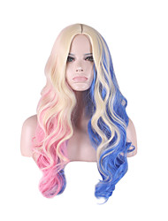 Cosplay Wigs Suicide squad Harleen Quinzel Wig for Women Blue/Pink Curly Costume Wig