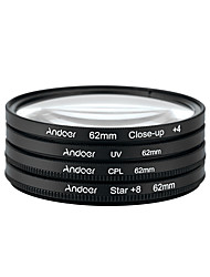 Andoer 62mm UV CPL Close-Up4 Star 8-Point Filter Circular Filter Kit Circular Polarizer Filter Macro Close-Up Star 8-Point Filter with Bag for Nikon