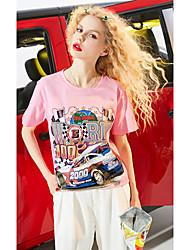 Damen Druck Zitate & Sprüche Einfach Alltag Normal T-shirt,Rundhalsausschnitt Kurzarm Baumwolle Viskose
