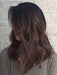 Medio marrón cuerpo onda pelucas de pelo humano parte media glueless frente de encaje pelucas de pelo virgen para las mujeres negras venta