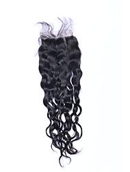 1 pièce 8-20 pouces 100% non traitées classe 7a vague naturelle naturel noir fermeture à cheveux humain brésilien partie gratuite 4x4