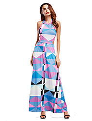 Women's Going out Casual/Daily Vintage Street chic Loose Dress,Print Pattern Boat Neck Maxi Sleeveless Cotton Spring Summer Mid Rise