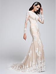 Trompette / Sirène Robe de Mariage  Traîne Tribunal Bijoux Tulle avec Appliques