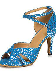 Для женщин Латина Нубук На каблуках Для закрытой площадки С пряжкой Белый Синий 5 - 6,8 см Персонализируемая