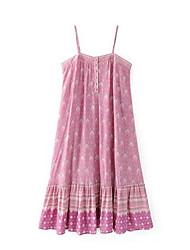 Damen Tunika Chiffon Kleid-Lässig/Alltäglich Solide Blumen Druck Gurt Übers Knie Kurzarm Andere Sommer Mittlere Hüfthöhe Unelastisch Dünn