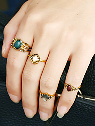 1Set Women's Ring Circular Metal Alloy Resin Rhinestone Circle Jewelry For Birthday Event/Party Date